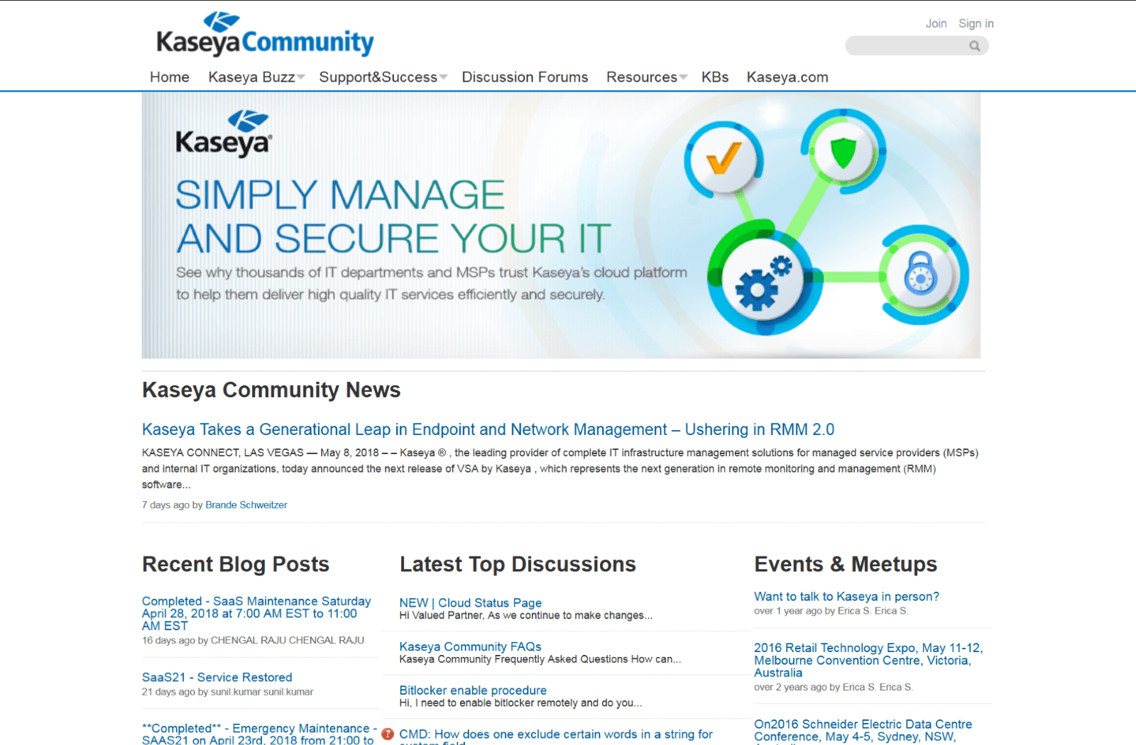 Screenshot of Kaseya Community