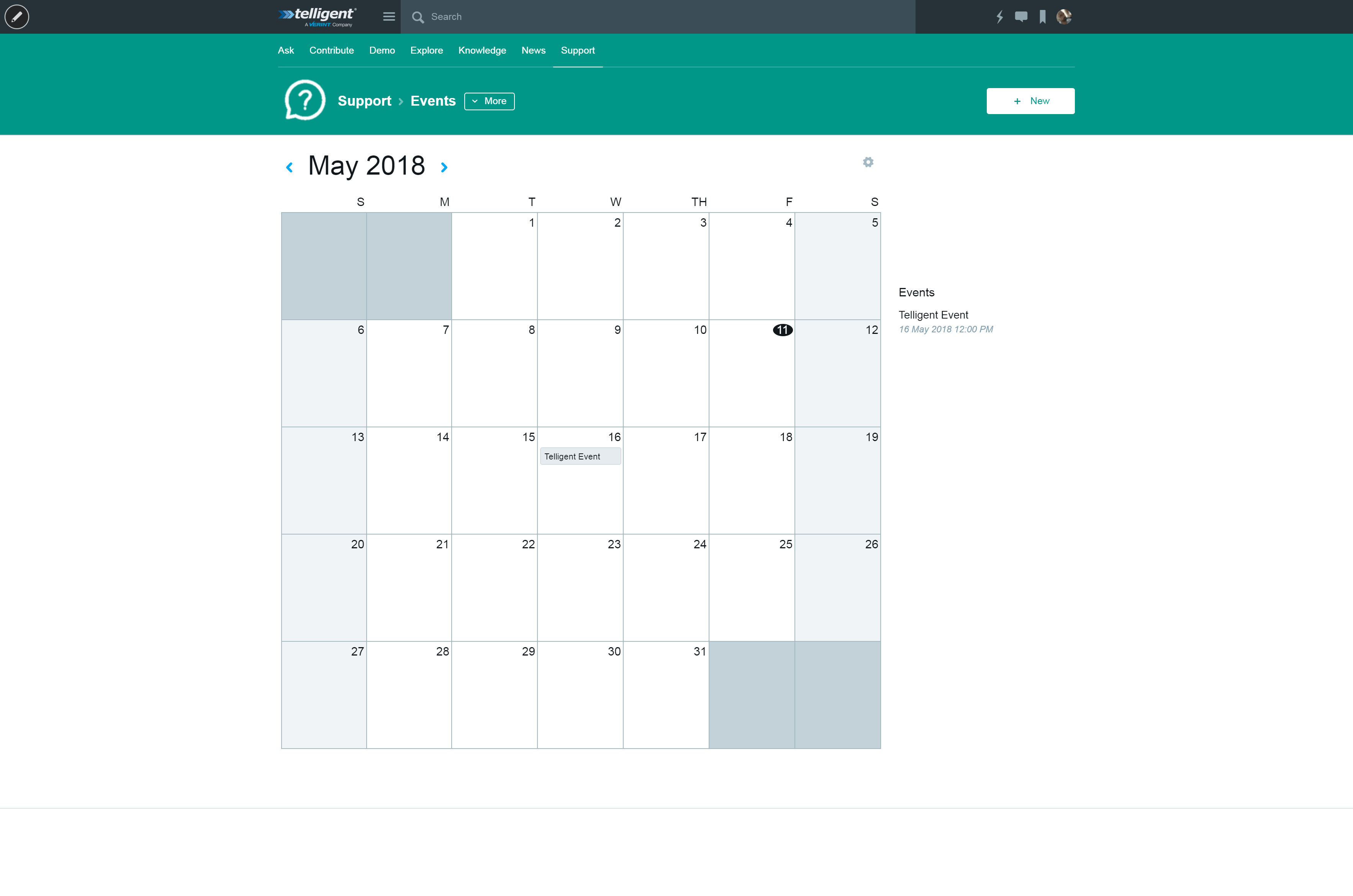 Screenshot of Telligent Calendar